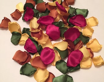 Rose Petals/Fall Wedding Decor/Autumn Wedding/Fall Rose Petals/Wine Rose Petals/Green Rose Petals/Gold Rose Petals/Satin Petals/Aisle Petals