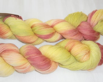 Hand Dyed Laceweight Superwash Merino Yarn in Citrus Colours