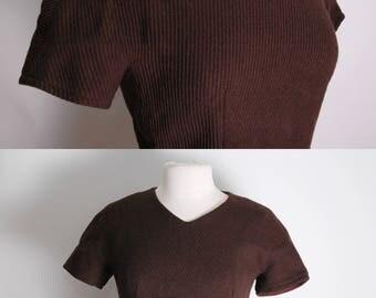Vintage 1950's Brown Wool Shell Blouse Zip Back M 38 L