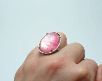 Pink adjustable ring,Hand-painted ring, adjustable ring, resin and metal ring, gift for her, resin ring, handmade ring, abstract ring