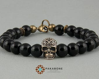 Bracelet with Bronze Skull and Ceramic Beads Wristband with Skull art. 000-840