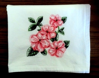Pink Impatiens Embroidered Flour Sack Towel