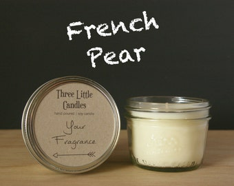 French Pear Soy Candle Mason Jar - 170g - 30 + Hour Burn Time