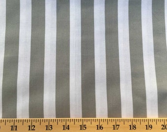 GRAY & WHITE Stripe Fabric By the Yard, Half, Fat Quarter 7/8 Inch Awning Stripes Striped 100% Cotton Quilting Apparel Fabric a2/37