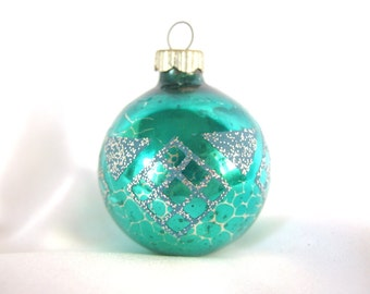 Small Vintage Shiny Brite Christmas Ornament - Turquoise Geometric Christmas Ornament