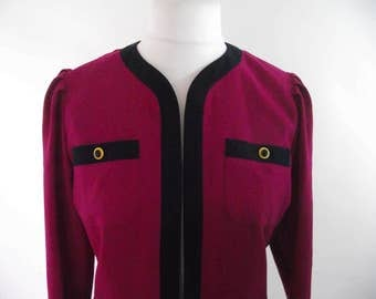 Vintage 80s Frankenwalder - Made in west Germany cerise pink wool mix navy trim jacket size small