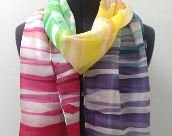 Rainbow Silk Scarf ~ Hand Painted Silk Scarf, Multicoloured Accessories, Multicolor Scarf, Bright Headscarf, Stripy Silk Scarf for her