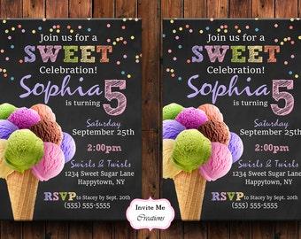 Ice Cream Invitation, Ice Cream Birthday Party Invite, Ice Cream Cone Invitation, Sweet Invitation, Ice Cream Invite, Birthday Invitation
