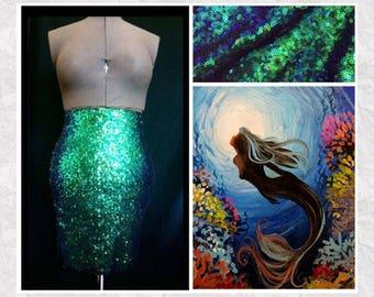Mermaid Costume Adult - Iridescent Green Pencil Skirt