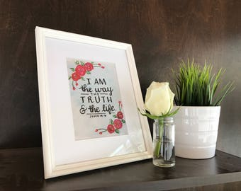 Handlettered Floral Matted 8x10 Scripture  Print