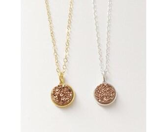 Rose Gold Druzy Necklace / Druzy Necklace