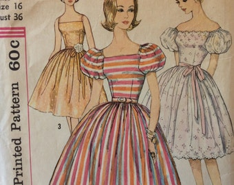 Simplicity 3774 misses dress w/full skirt size 16 bust 36 vintage 1960's sewing pattern