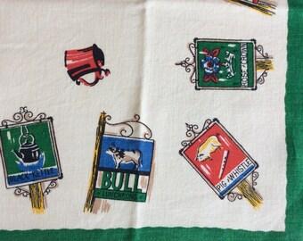 English pub signs vintage tea towel