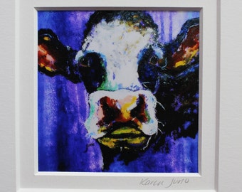 Abstract Black and White Cow Print, Matted Blue Cow Art, 8 x 10 matted Cow Painting, Abstract Cow wall art