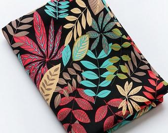 Cotton Canvas Fabric, Upholstery Fabric, Thick Curtain Kitchen Fabric, Black Fabric, Beautiful leaves Pattern - 1/2 Yard
