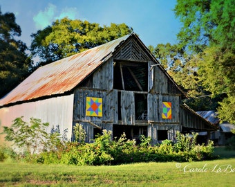 ABANDONED BARN ~ Alabama Travel Photography ~ Quilt pattern ~ Scenic Byway ~ Country Rustic Wall Art ~ Color or Sepia Image ~12x18~ALB1