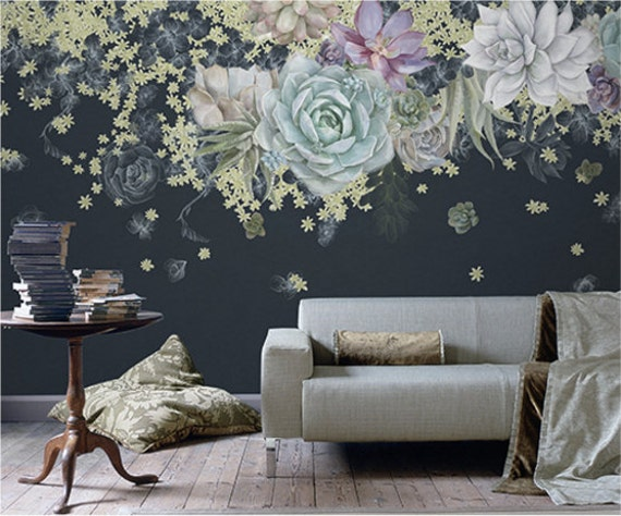 Wall Decor Tapetai : Succulent art wallpaper dark floral wall mural colorful bold