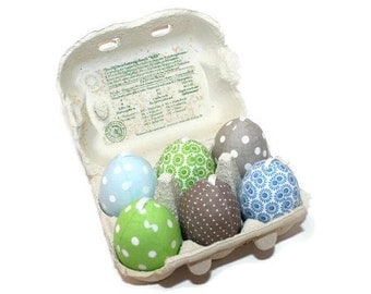 Easter eggs to hang, eggs from fabric, stitched Easter eggs, unbreakable, blue green, taupe nature, spotted, retired, 6 eggs in the carton