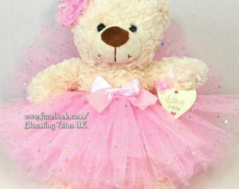 "Flower Girl Bridesmaid 16"" Teddy in a Tutu - Personalised Wedding Gift, Keepsake, Pink Sparkly"
