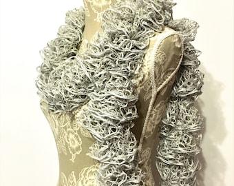 Silver Crochet Ruffle Scarf, Ruffle Scarf, Crochet Scarf, Scarf, Grey Scarf, Ruffled Scarf, Frilly Scarf, Sashay Scarf, Handmade Scarf