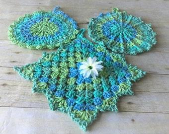 Crochet Dishcloths, Blue Green Crochet Dishcloth, Dishcloth Set, Round Dishcloth, Cotton Dishcloth, Crocheted Dishcloths, Mothers Day Gift