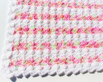 Pink Baby Blanket, Crochet Baby Blanket, Crochet Blanket, Baby Girl Blanket, Mint Baby Blanket, Baby Afghan, Baby Shower Gift, Ready to Ship