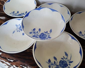 Soup plates, roses floral. Blue. Model Corsica - Earthenware Digoin sarreguemines - french vintage
