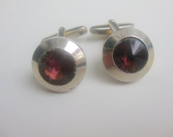 old, Ruby-colored glass cufflinks