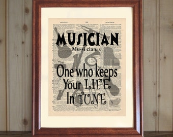 Musician Dictionary Print, Musician Saying, Musician Quote, Music Student Gift, Music Teacher Gift, Musician Print, Musician Wall Art