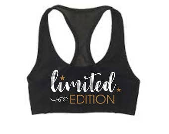 "Custom Cheer ""Limited Edition"" Sports Bra and Shorts Set with Bow"