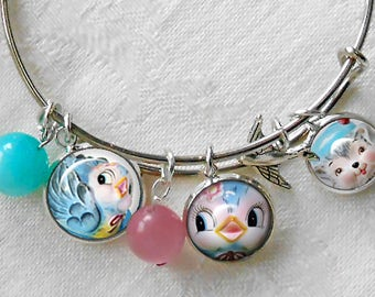 Lefton Bluebirds Charm Bracelet ~ Stackable Bangle ~ Lefton Bluebirds ~ Miss Priss ~ August birthday ~ Pink Pyrex