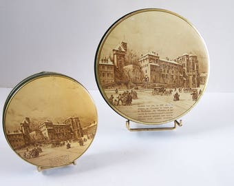 """2 tin boxes """"A la Duchesse de Mazarin"""" Chambery chocolate maker, confectioner vintage  Made in France"""