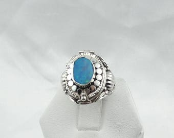 Unusual Hinged Blue Opal Sterling Silver Ring with Hidden Compartment  #POISON-SR4