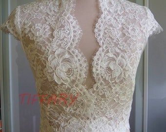 Wedding bolero, top, jacket of lace, short sleeves, fastened front, alencon . Romance unique bridal bolero PEARL 1