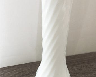 Vintage Hoosier Milk Glass swirl pattern bud vase