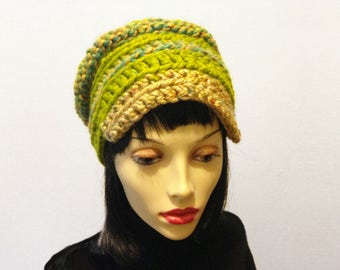 CASEY Ready to ship chunky crochet cloche with brim. Woman's and teen girl green and gold handmade hat.