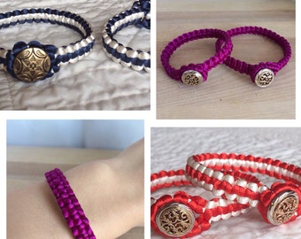Custom handmade mother daughter satin cord macrame bracelet set-Mommy Me macrame knotted satin Bracelet set-mama me matching bracelets