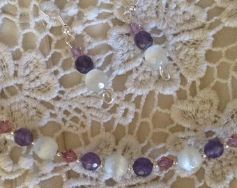 Amethyst floating necklace with matching earrings