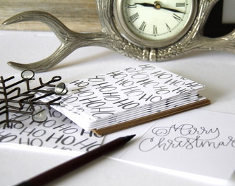 Watercolor, Christmas Cards,  Ho Ho Ho, Boxed Set of 10, Blank Cards, Brush Lettering