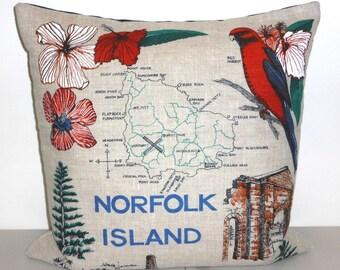 Norfolk Island Cushion Cover Australian Historic Places South Pacific Tea Towel Cushion Upcycled Tea Towel Australiana Beach House Decor