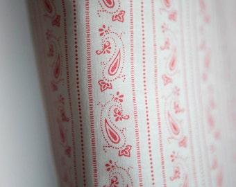 1976 Laura Ashley Cohama fabric - red paisley on white cotton fabric