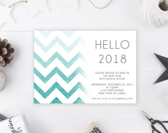 New Years Eve Party Invitation, New Years Invitation, Hello 2018, Ring in the New Year, Printable New Years Party Invitation, New Year [115]