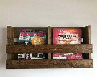 rustic double magazine rack wall mounted magazine rack rustic wood magazine rack menu