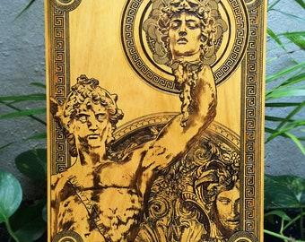 Medusa, Greek Heroes, Fathers Day Gift for Dad, Ancient Greek Gods, Mythical Creature, Greek Mythology, Greek Myths, Perseus, Engraved Wood