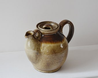 1960s studio pottery Danish teapot. Unique mid century teapot with extra handle.