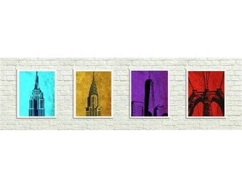 New York City Printable, 4 for 1 NYC Printable Wall Art, Instant Download