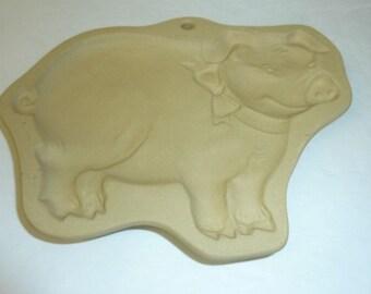 Vintage Cow Pig Cookie Mold Farm Animal Short Bread German Springerle Press Stoneware Lamb Brown Bag Cookie Art 1986 Set of 2