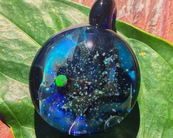 Glass Space Pendant  - Glass Galaxy Pendant - Blown Glass Galaxy Necklace - Glass Space Jewelry - Glass Pendant with Opal - Fumed Boro