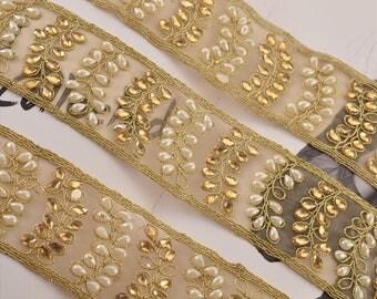 KK Hand Beaded Bridal Border 1 Yd Trim Golden Craft Lace Pearl Beads Work
