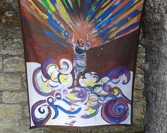 100% Lozzabubbleart satin scarf and/or wall hanging of original oil painting 'The Opening'.